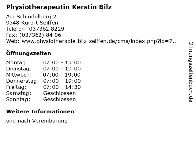 Physiotherapeutin Kerstin Bilz in Kurort Seiffen: Adresse und Öffnungszeiten