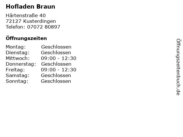 Hofladen Braun in Kusterdingen: Adresse und Öffnungszeiten