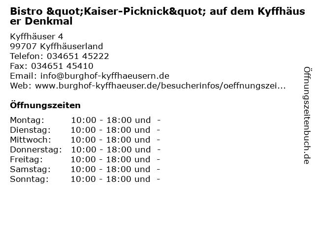 """Bistro """"Kaiser-Picknick"""" auf dem Kyffhäuser Denkmal in Kyffhäuserland: Adresse und Öffnungszeiten"""