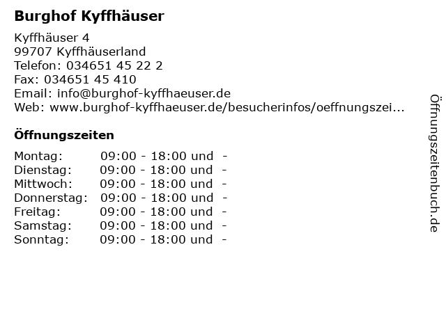 Burghof Kyffhäuser in Kyffhäuserland: Adresse und Öffnungszeiten