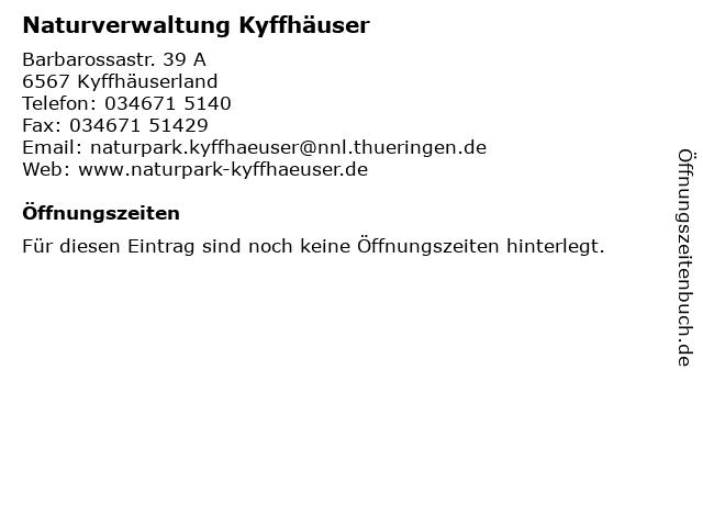 Naturverwaltung Kyffhäuser in Kyffhäuserland: Adresse und Öffnungszeiten