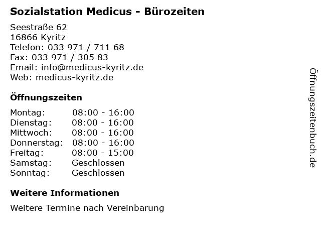Sozialstation Medicus - Bürozeiten in Kyritz: Adresse und Öffnungszeiten