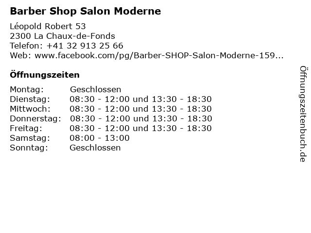 "ᐅ Öffnungszeiten ""Barber Shop Salon Moderne"" | Léopold ..."