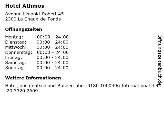Hotel Athmos in La Chaux-de-Fonds: Adresse und Öffnungszeiten