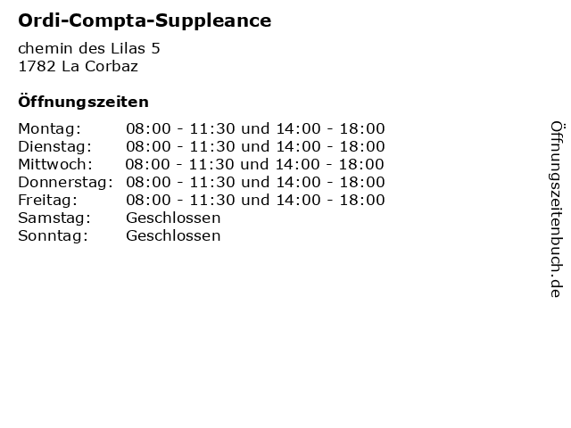 Ordi-Compta-Suppleance in La Corbaz: Adresse und Öffnungszeiten