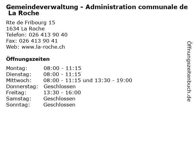 Gemeindeverwaltung - Administration communale de La Roche in La Roche: Adresse und Öffnungszeiten