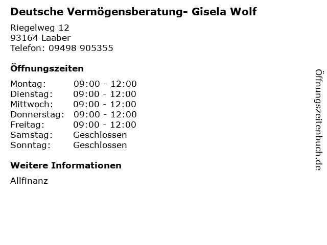 Deutsche Vermögensberatung- Gisela Wolf in Laaber: Adresse und Öffnungszeiten