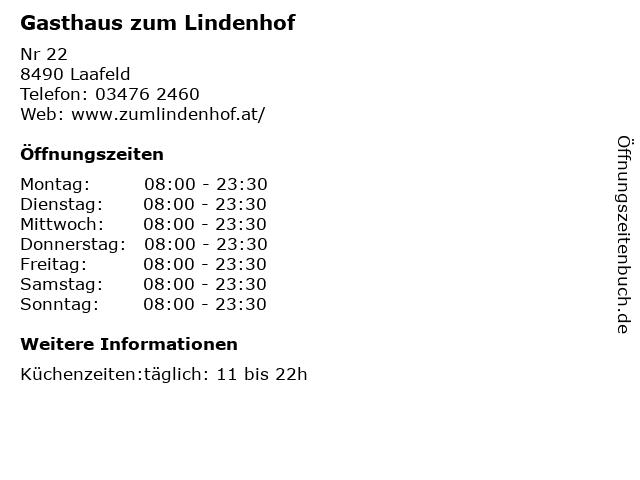 Gasthaus zum Lindenhof in Laafeld: Adresse und Öffnungszeiten
