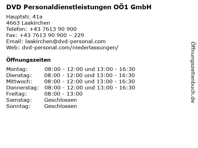 DVD Personaldienstleistungen OÖ1 GmbH in Laakirchen: Adresse und Öffnungszeiten
