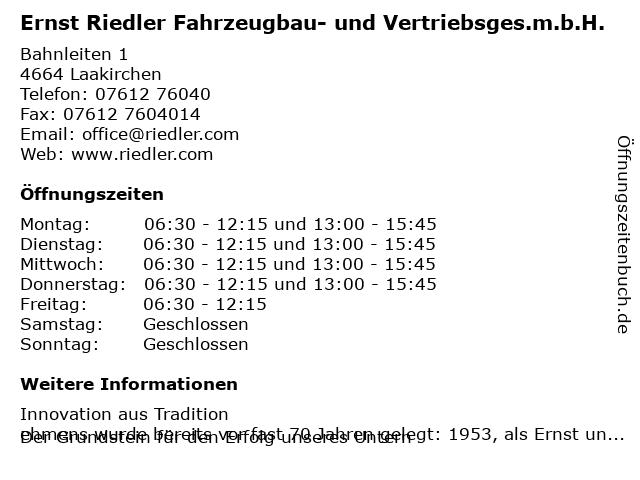 Ernst Riedler Fahrzeugbau- und Vertriebsges.m.b.H. in Laakirchen: Adresse und Öffnungszeiten