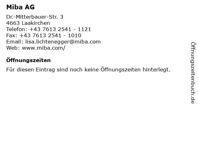 Miba AG in Laakirchen: Adresse und Öffnungszeiten