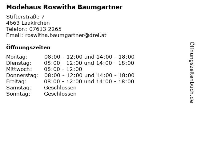 Modehaus Roswitha Baumgartner in Laakirchen: Adresse und Öffnungszeiten