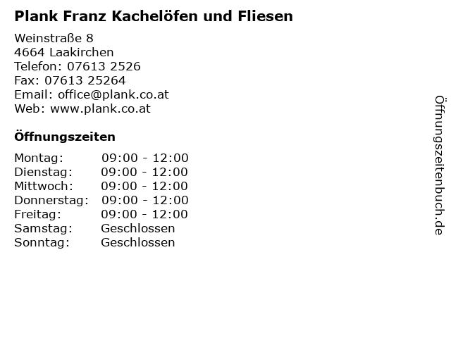 Plank Franz Kachelöfen und Fliesen in Laakirchen: Adresse und Öffnungszeiten