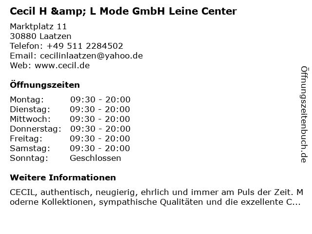 Cecil H & L Mode GmbH Leine Center in Laatzen: Adresse und Öffnungszeiten