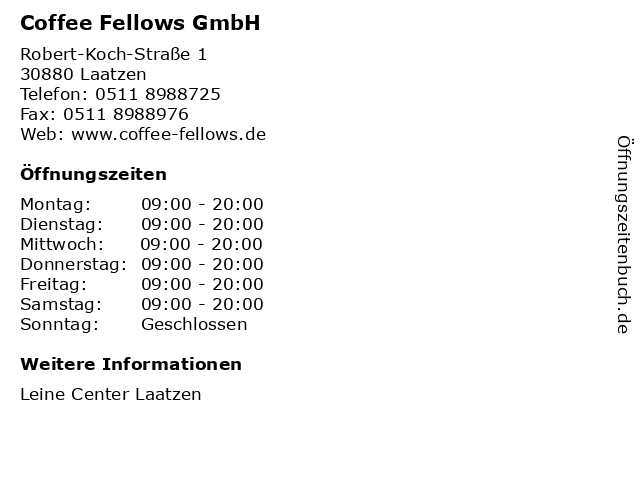 Coffee Fellows GmbH in Laatzen: Adresse und Öffnungszeiten