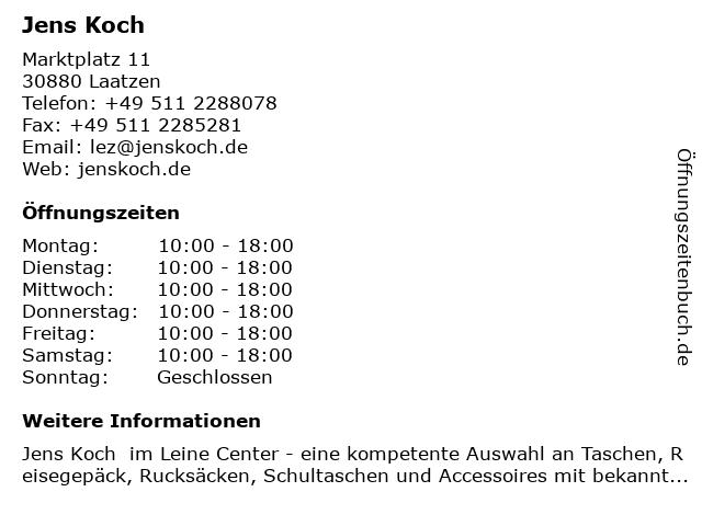 Jens Koch in Laatzen: Adresse und Öffnungszeiten