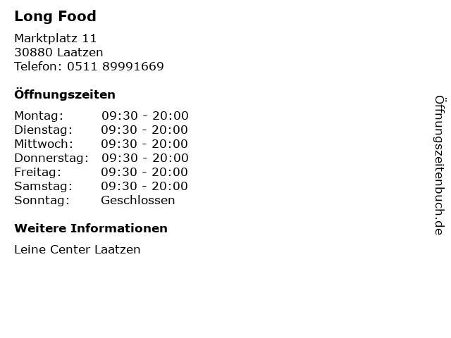 Long Food in Laatzen: Adresse und Öffnungszeiten