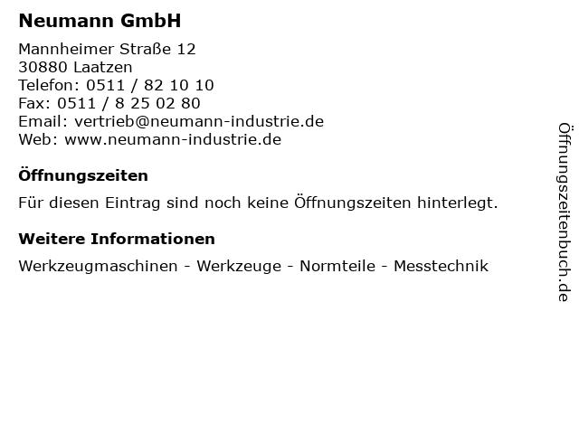 Neumann GmbH in Laatzen: Adresse und Öffnungszeiten