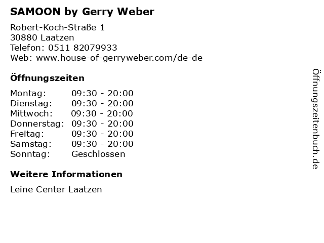 SAMOON by Gerry Weber in Laatzen: Adresse und Öffnungszeiten