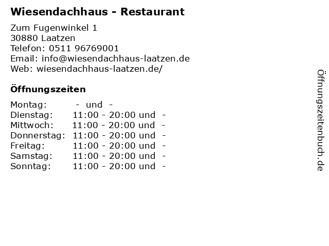 Wiesendachhaus - Restaurant in Laatzen: Adresse und Öffnungszeiten