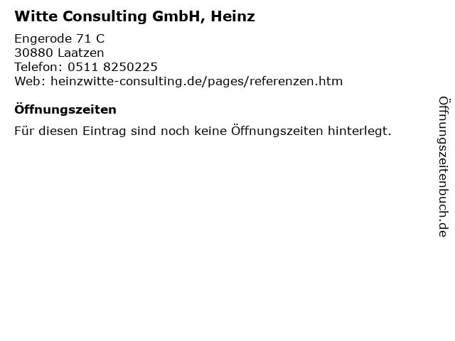 Witte Consulting GmbH, Heinz in Laatzen: Adresse und Öffnungszeiten