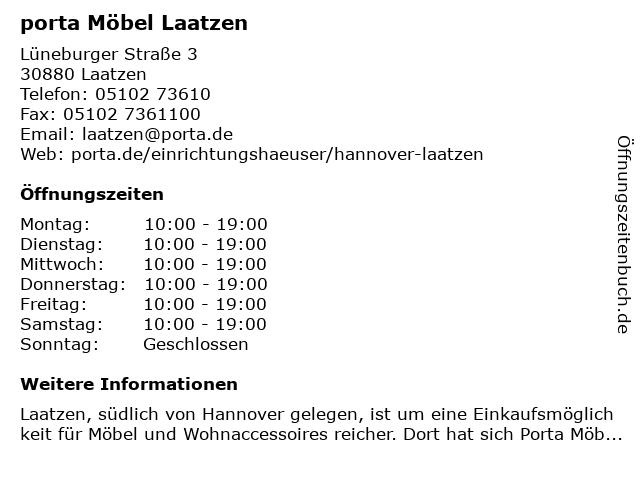 ᐅ Offnungszeiten Porta Mobel Luneburger Strasse 3 In Laatzen
