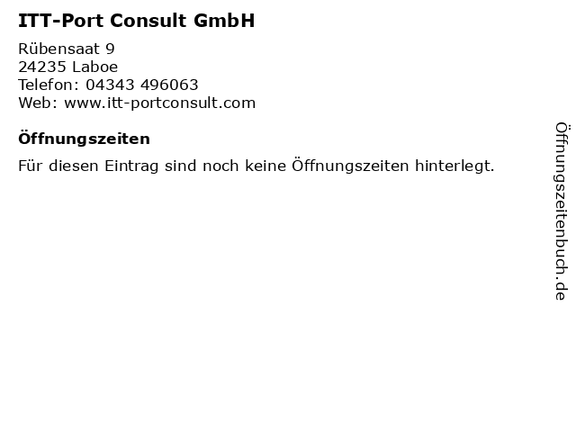 ITT-Port Consult GmbH in Laboe: Adresse und Öffnungszeiten