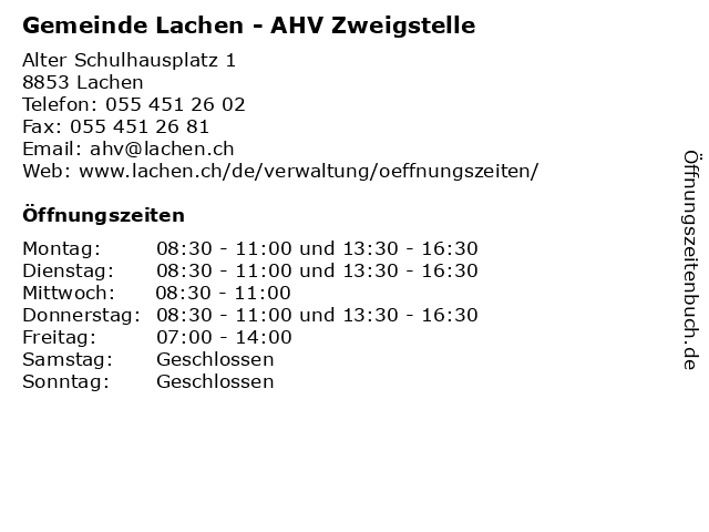 Gemeinde Lachen - AHV Zweigstelle in Lachen: Adresse und Öffnungszeiten