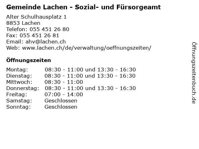 Gemeinde Lachen - Sozial- und Fürsorgeamt in Lachen: Adresse und Öffnungszeiten