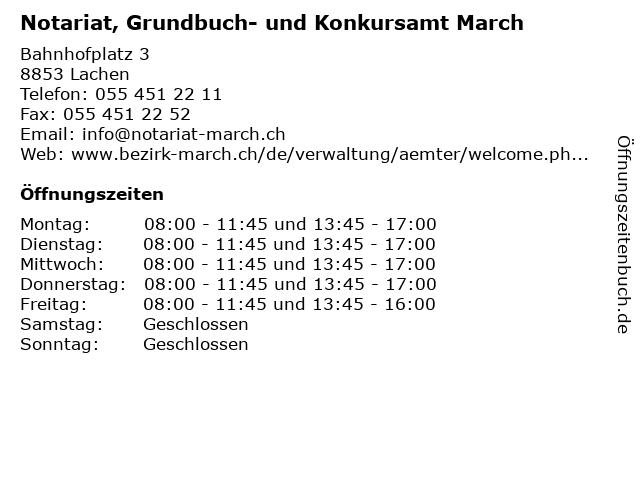 Notariat, Grundbuch- und Konkursamt March in Lachen: Adresse und Öffnungszeiten