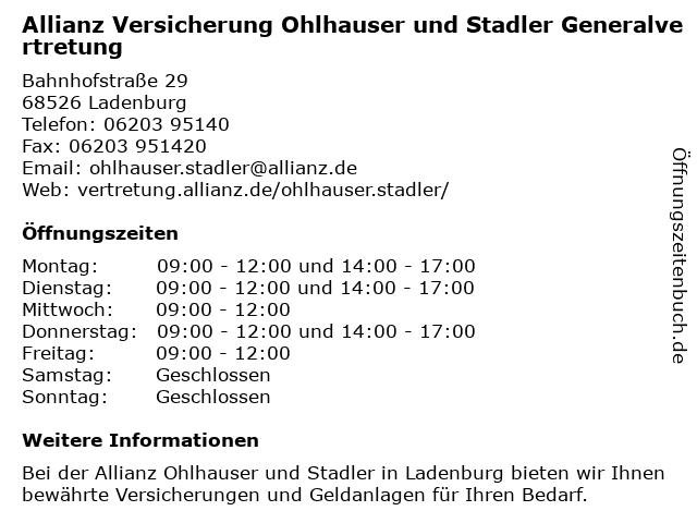 Allianz Vertretung Ohlhauser und Stadler in Ladenburg: Adresse und Öffnungszeiten