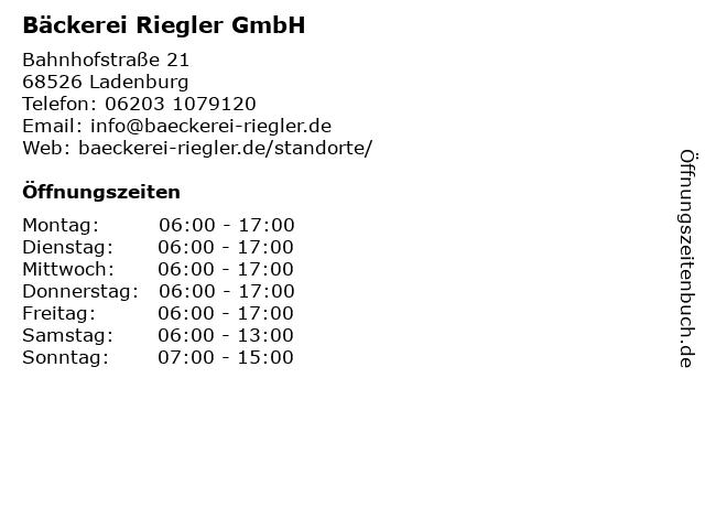 Bäckerei Riegler GmbH in Ladenburg: Adresse und Öffnungszeiten