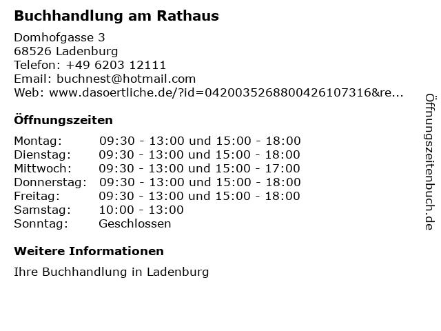 Buchhandlung am Rathaus in Ladenburg: Adresse und Öffnungszeiten