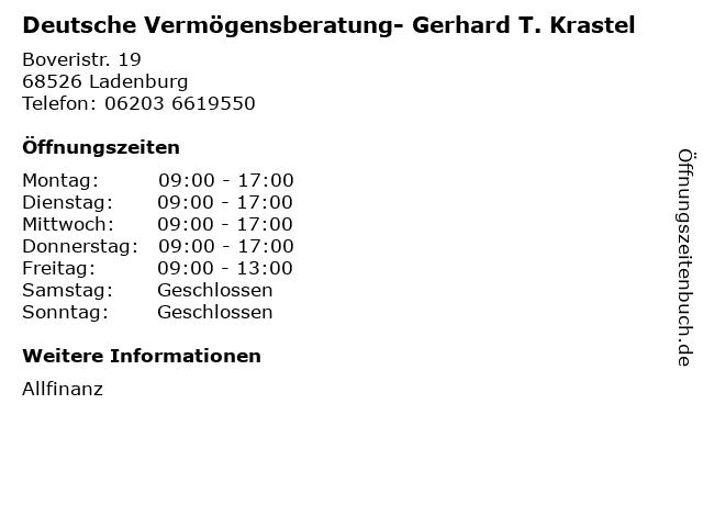 Deutsche Vermögensberatung- Gerhard T. Krastel in Ladenburg: Adresse und Öffnungszeiten