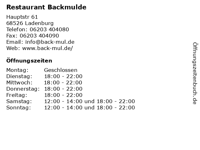 Restaurant Backmulde in Ladenburg: Adresse und Öffnungszeiten