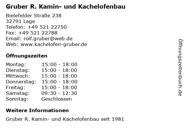 Gruber R. Kamin- und Kachelofenbau in Lage: Adresse und Öffnungszeiten