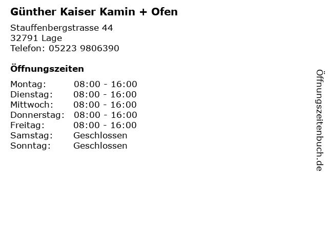 Günther Kaiser Kamin + Ofen in Lage: Adresse und Öffnungszeiten