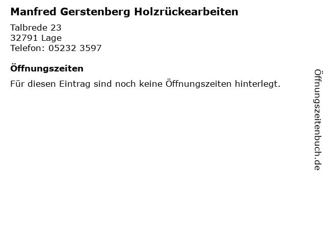 Manfred Gerstenberg Holzrückearbeiten in Lage: Adresse und Öffnungszeiten