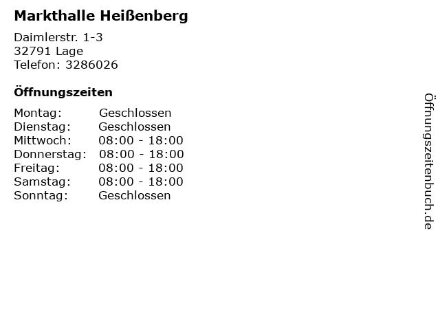 Markthalle Heißenberg in Lage: Adresse und Öffnungszeiten