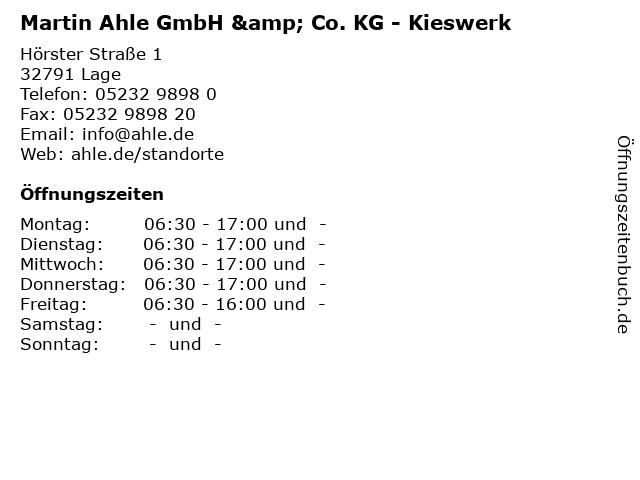 Martin Ahle GmbH & Co. KG - Kieswerk in Lage: Adresse und Öffnungszeiten
