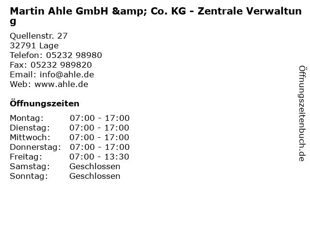 Martin Ahle GmbH & Co. KG - Zentrale Verwaltung in Lage: Adresse und Öffnungszeiten