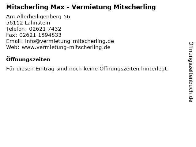 Mitscherling Max - Vermietung Mitscherling in Lahnstein: Adresse und Öffnungszeiten