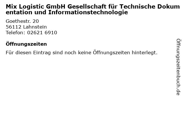 Mix Logistic GmbH Gesellschaft für Technische Dokumentation und Informationstechnologie in Lahnstein: Adresse und Öffnungszeiten