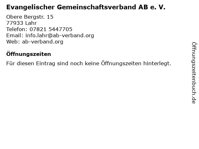 Evangelischer Gemeinschaftsverband AB e. V. in Lahr: Adresse und Öffnungszeiten