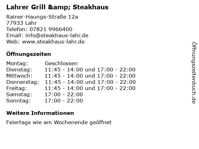 Lahrer Grill & Steakhaus in Lahr: Adresse und Öffnungszeiten