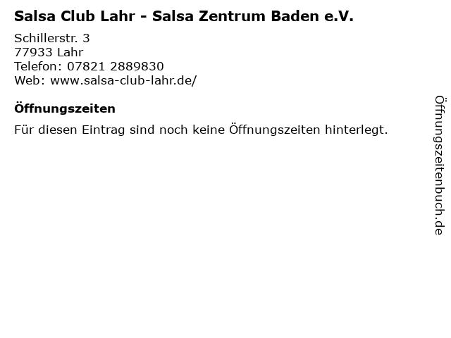 Salsa Club Lahr - Salsa Zentrum Baden e.V. in Lahr: Adresse und Öffnungszeiten