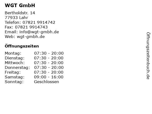 WGT GmbH in Lahr: Adresse und Öffnungszeiten