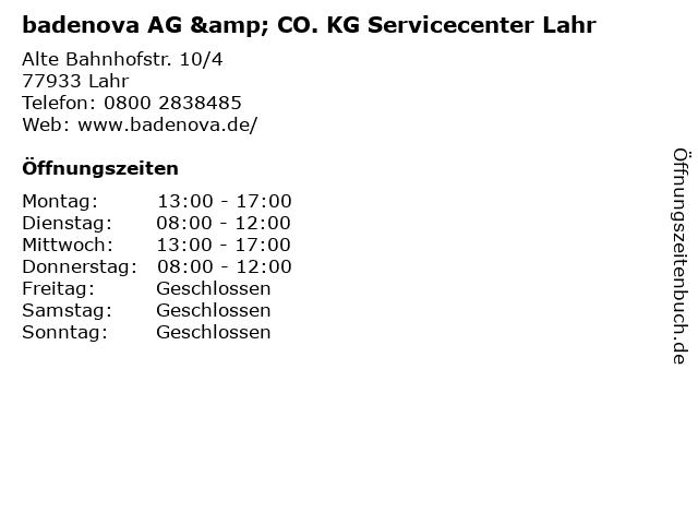 badenova AG & CO. KG Servicecenter Lahr in Lahr: Adresse und Öffnungszeiten