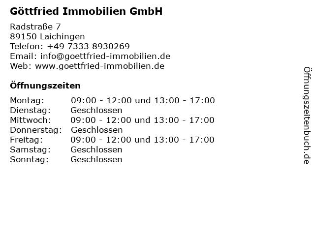 Göttfried Immobilien GmbH in Laichingen: Adresse und Öffnungszeiten