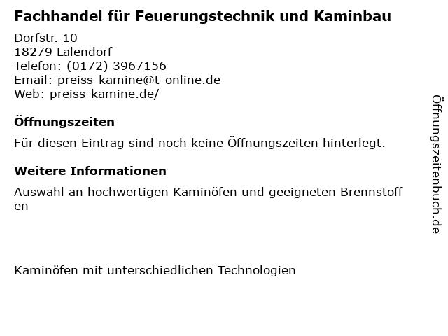 Fachhandel für Feuerungstechnik und Kaminbau in Lalendorf: Adresse und Öffnungszeiten